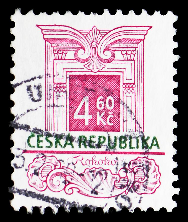 Rococo, Definitive Issues - Historic Architectural Styles serie, circa 1997. MOSCOW, RUSSIA - MARCH 23, 2019: A stamp printed in Czech Republic shows Rococo royalty free stock photography