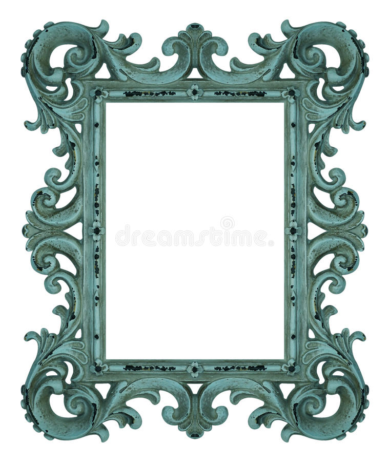 Rococo frame. Shabby blue rococo frame isolated on white stock images