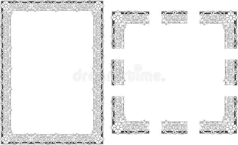 Rococo Style border frame. A Vector illustration of Rococo Style border frame; comes with seamlessly tillable component parts so you can make a frame to any size vector illustration