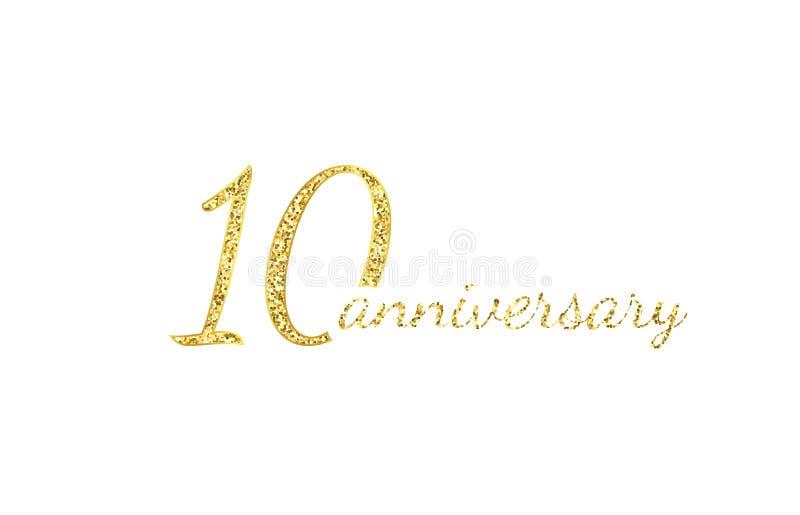 10 rocznic logo pojęcie 10th roku urodziny ikona Odosobnione złote liczby na czarnym tle r?wnie? zwr?ci? corel ilustracji wektora ilustracji