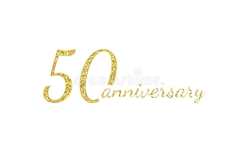 50 rocznic logo pojęcie 50th roku urodziny ikona Odosobnione złote liczby na czarnym tle r?wnie? zwr?ci? corel ilustracji wektora ilustracji