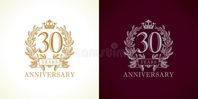 30 rocznic luksusu logo ilustracja wektor