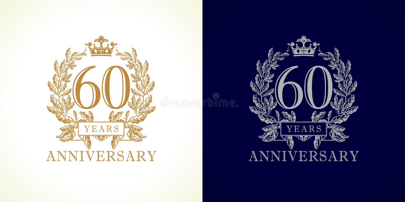 60 rocznic luksusu logo royalty ilustracja