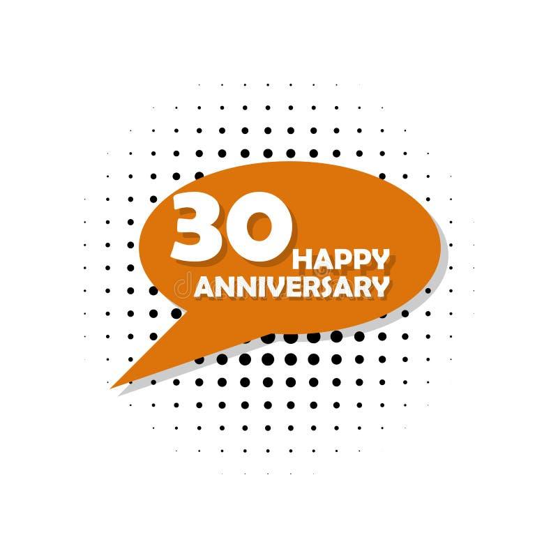 Rocznica, 30 rok stubarwnej ikony Może używać dla sieci, logo, mobilny app, UI, UX ilustracja wektor