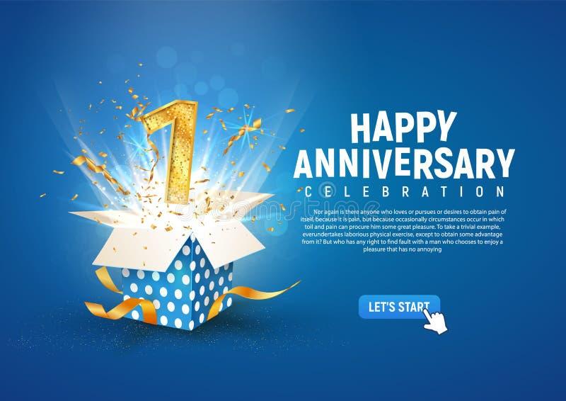 1. rocznica transparentu z otwartym pudełkiem na prezent Pierwsze urodzinowe świętowanie szablonu i abstrakcyjny tekst na niebies royalty ilustracja