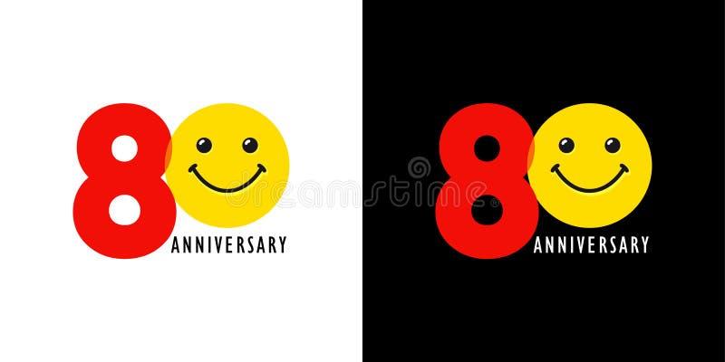 80 rocznica z zabawą i uśmiechem ilustracji