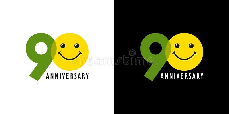 90 rocznica z zabawą i uśmiechem ilustracja wektor