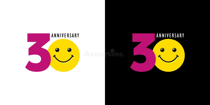 30 rocznica z zabawą i uśmiechem ilustracja wektor