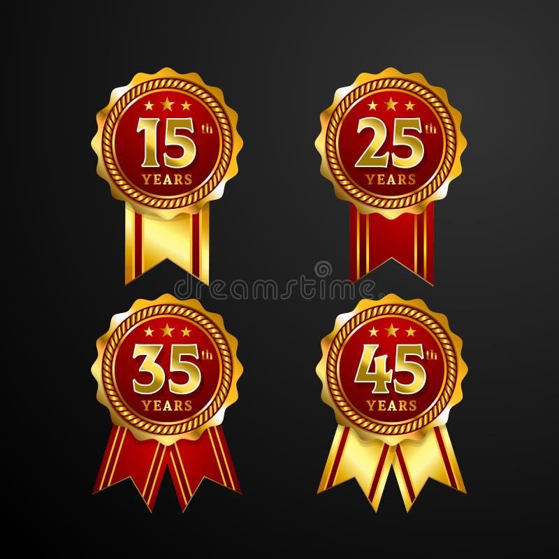 Rocznicowa logo odznaka z tasiemkowym wektorowym projektem Set błyszczący złocisty czerwony medalu guzik z liczbami dla urodzinow royalty ilustracja