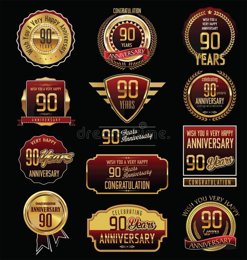 Rocznicowa złota etykietki kolekcja 90 rok ilustracja wektor