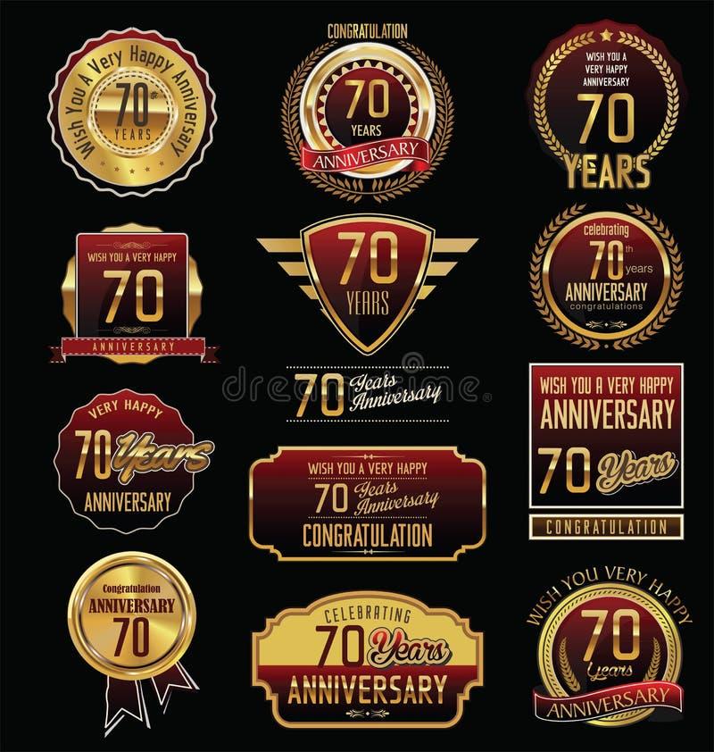 Rocznicowa złota etykietki kolekcja 70 rok ilustracja wektor