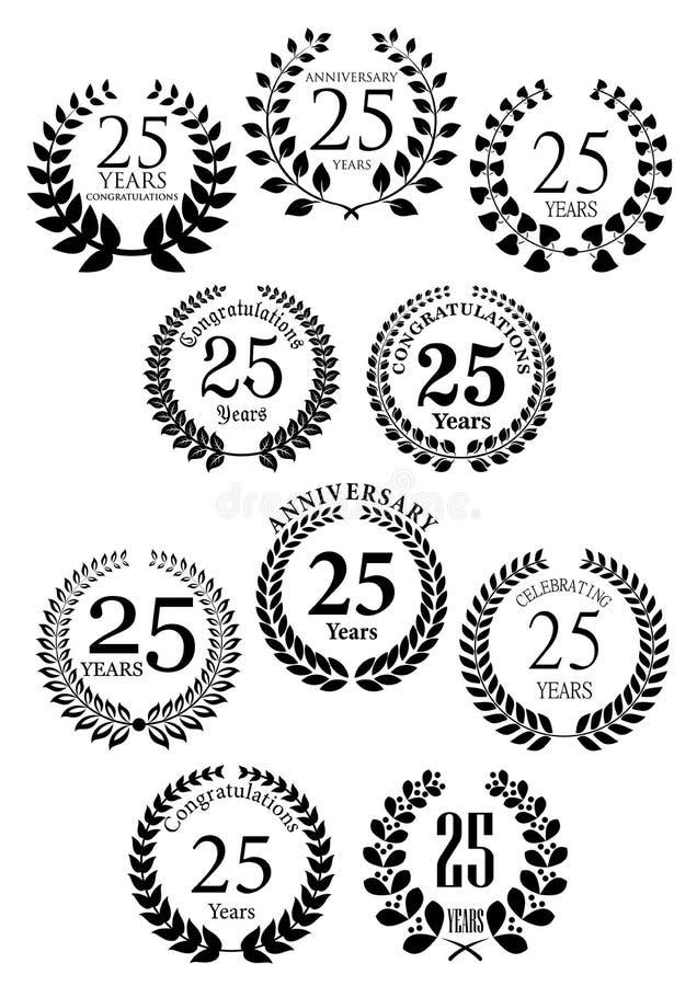 Rocznicowe heraldyczne laurowe wianek ikony royalty ilustracja