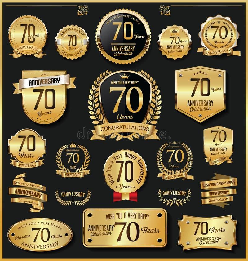 Rocznicowego retro rocznika złote odznaki i etykietki wektorowi ilustracji