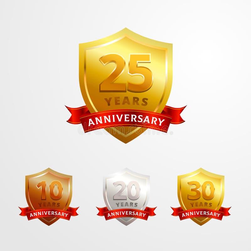 Rocznicowej logo odznaki wektorowy projekt Set z?oty Shinny, srebro, br?zowa os?ona z faborkiem dla urodzinowego wydarzenia ?wi?t royalty ilustracja