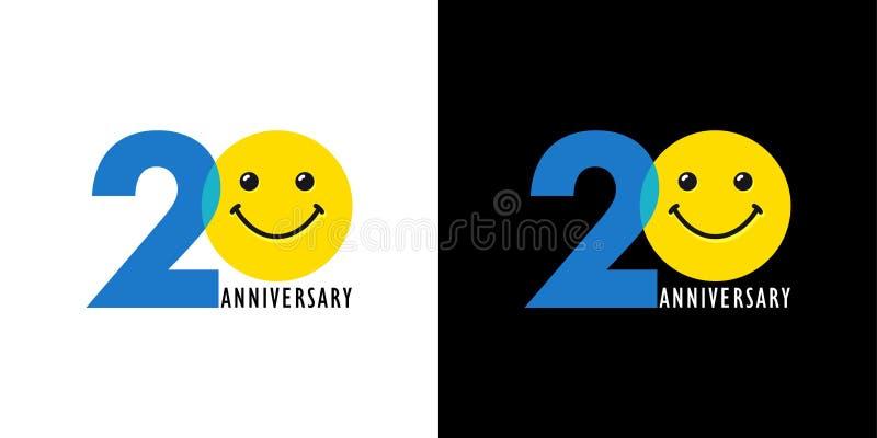 20 rocznicowy śmieszny logo royalty ilustracja
