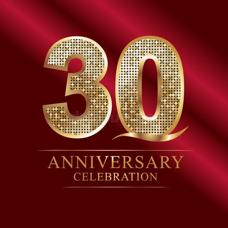 Rocznicowy świętowanie logotyp 30th Rocznicowy logo dyskotek liczby royalty ilustracja