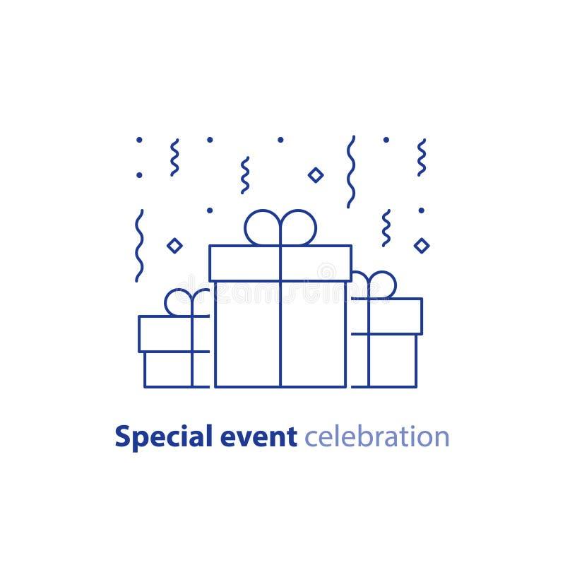Rocznicowy świętowanie, wszystkiego najlepszego z okazji urodzin gratulacje, grupa trzy niespodzianka prezenta pudełka, spada con royalty ilustracja