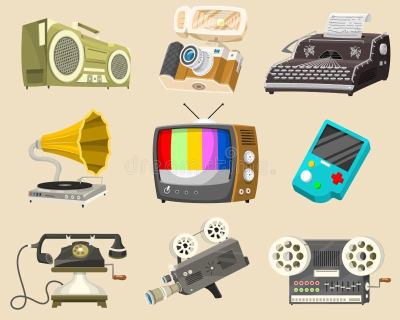 Roczników przyrządów ikony Retro technika środki, telewizja tv, audio radiowa muzyka, Elektroniczni rozsądni pisaki, film kamera ilustracji