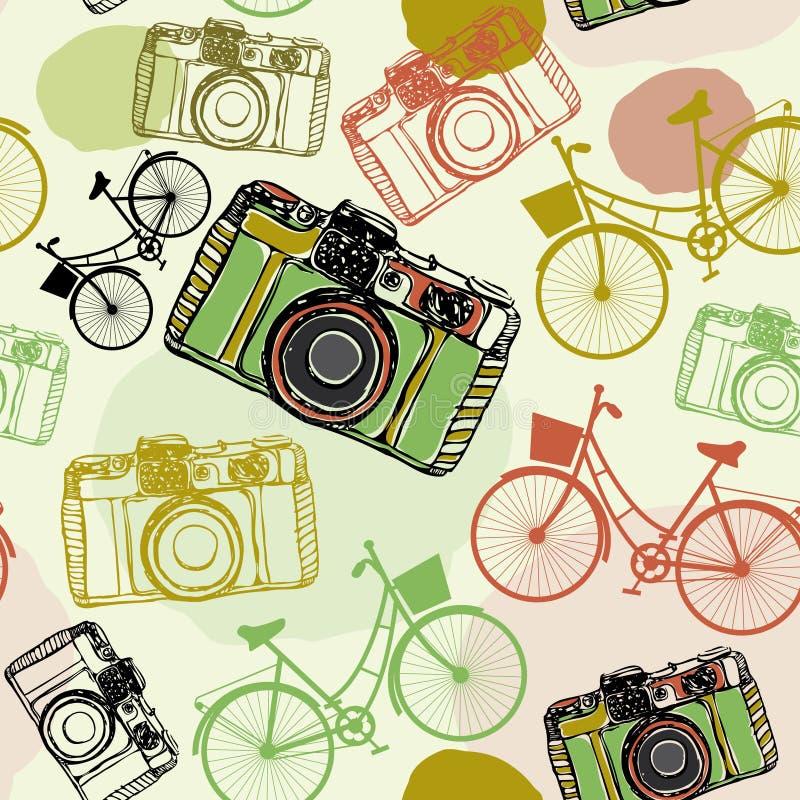 Roczników bicykle i, bezszwowi deseniowi pastelowi kolory ilustracji
