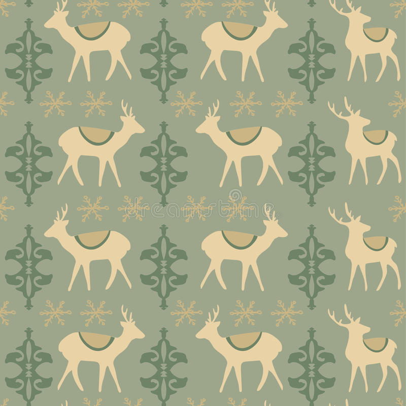 Roczników bożych narodzeń bezszwowy wzór z deers ilustracja wektor