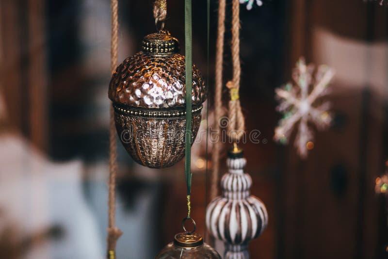 Roczników bożych narodzeń ornament Eleganckie boże narodzenie dekoracje, acorn zdjęcie royalty free