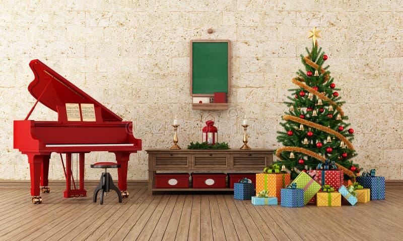 Roczników christams izbowi z czerwonym pianinem royalty ilustracja