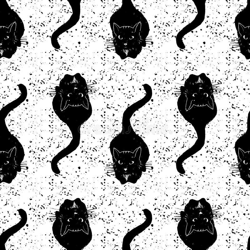 Roczników czarnych kotów wzór również zwrócić corel ilustracji wektora royalty ilustracja