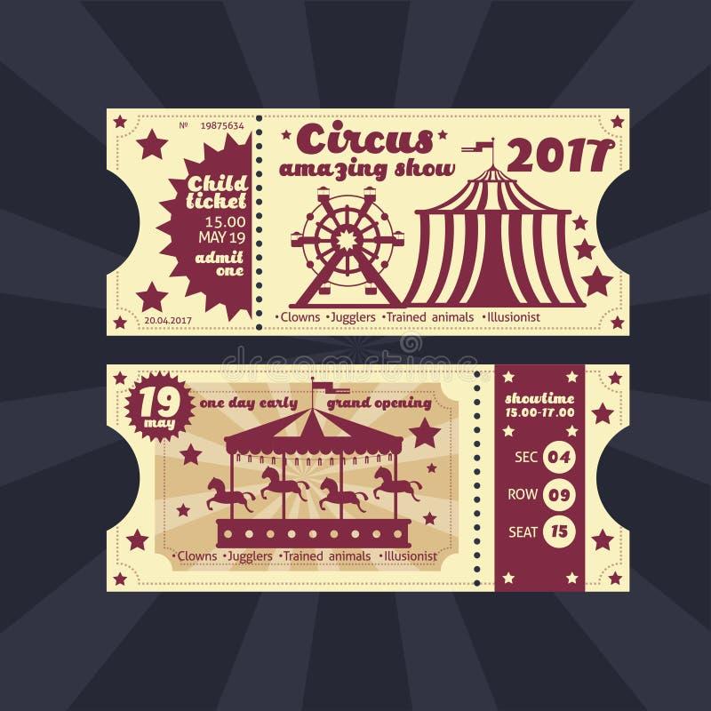 Roczników dzieciaków kostiumu przyjęcia zaproszenie Retro cyrkowy karnawałowy biletowy wektorowy szablon royalty ilustracja
