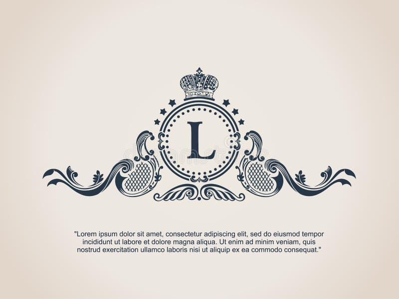 Roczników elementów Dekoracyjnych zawijasów Kaligraficzny ornament L royalty ilustracja