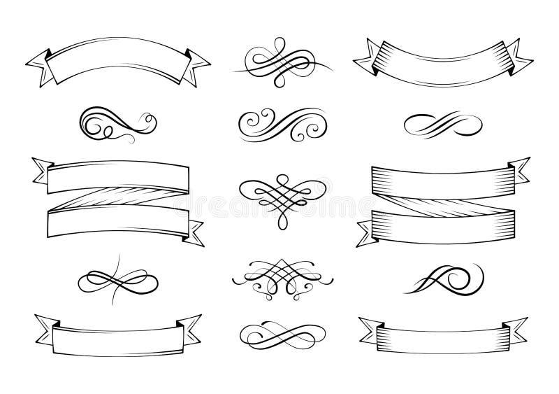 Roczników elementy i strony dekoracja Ozdobne ramy i ślimacznica element royalty ilustracja