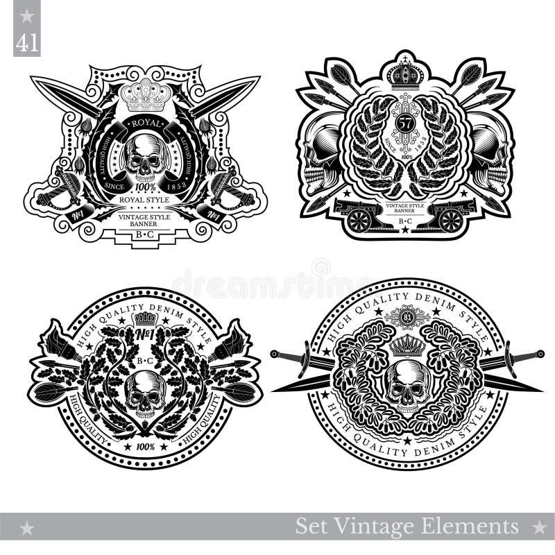 Roczników emblematy z czaszką w centrum kwiecisty wzór i broń Ustawia wektorowego heraldycznego element dla projekta lub koszulka royalty ilustracja