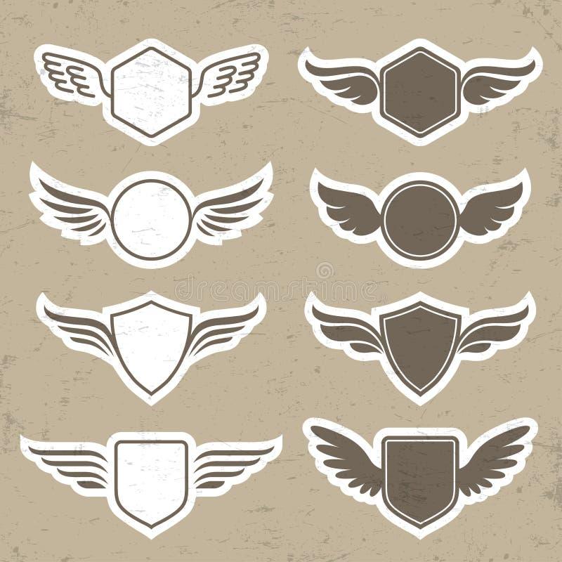 Roczników heraldyczni kształty z skrzydłami royalty ilustracja