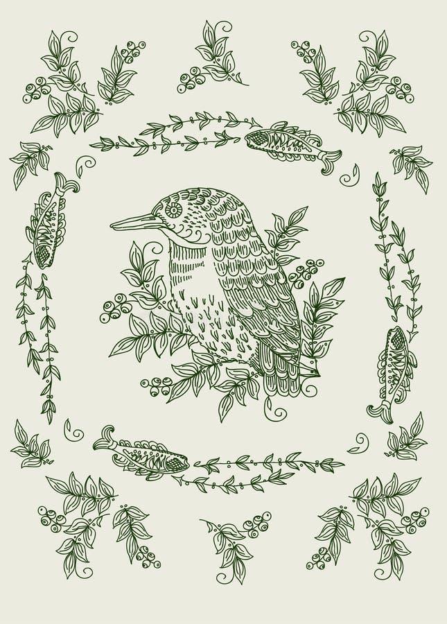 Roczników kartka z pozdrowieniami kwieciści motywy royalty ilustracja