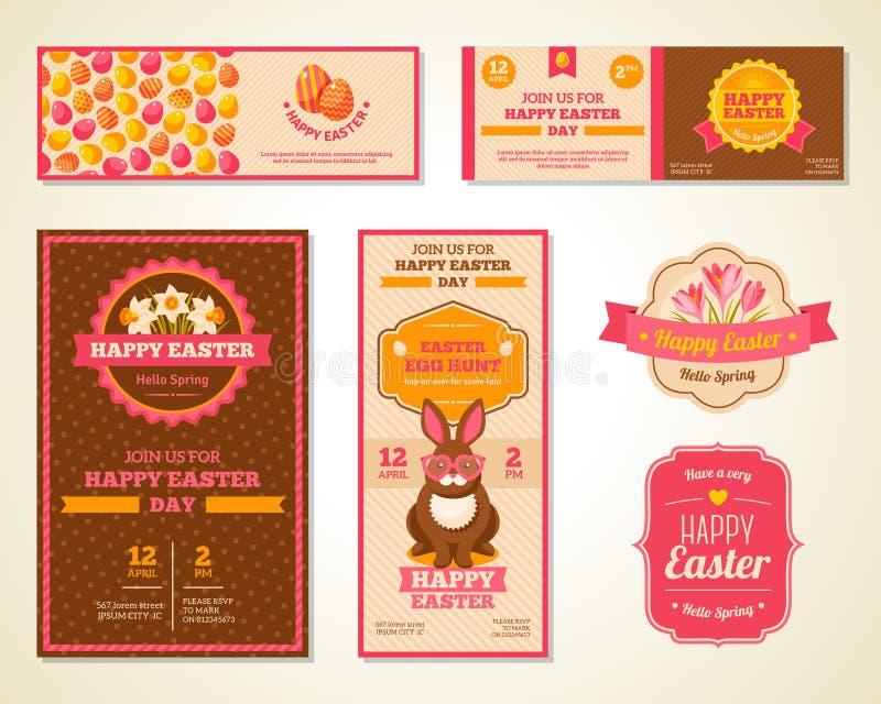 Roczników kartka z pozdrowieniami Szczęśliwy Wielkanocny projekt royalty ilustracja