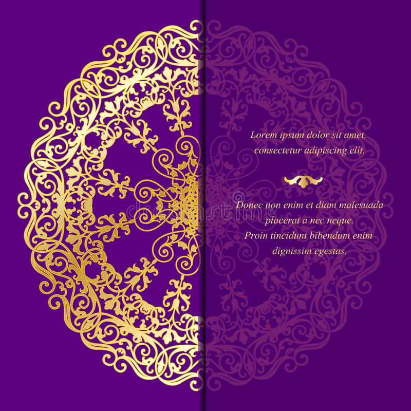 Roczników kartka z pozdrowieniami w wschodnim stylu ilustracja wektor