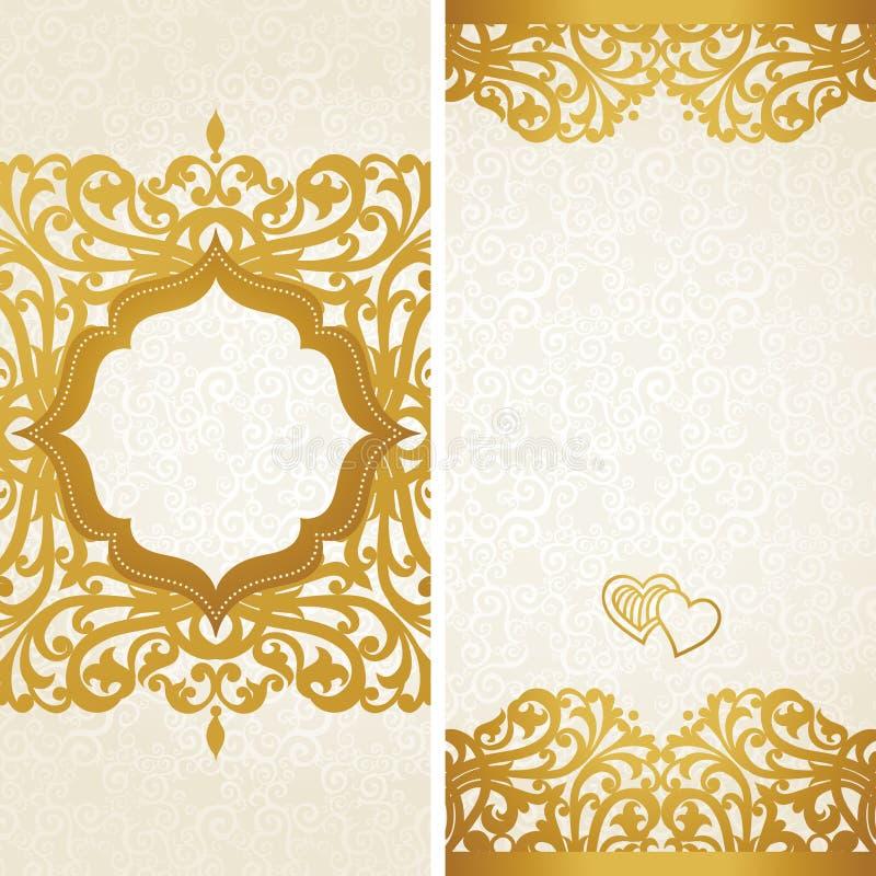 Roczników kartka z pozdrowieniami z zawijasami i kwiecistymi motywami w retro stylu. royalty ilustracja