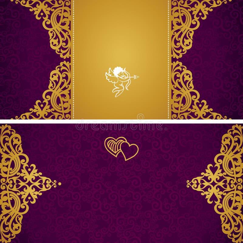 Roczników kartka z pozdrowieniami z zawijasami i kwiecistymi motywami w retro stylu. ilustracja wektor