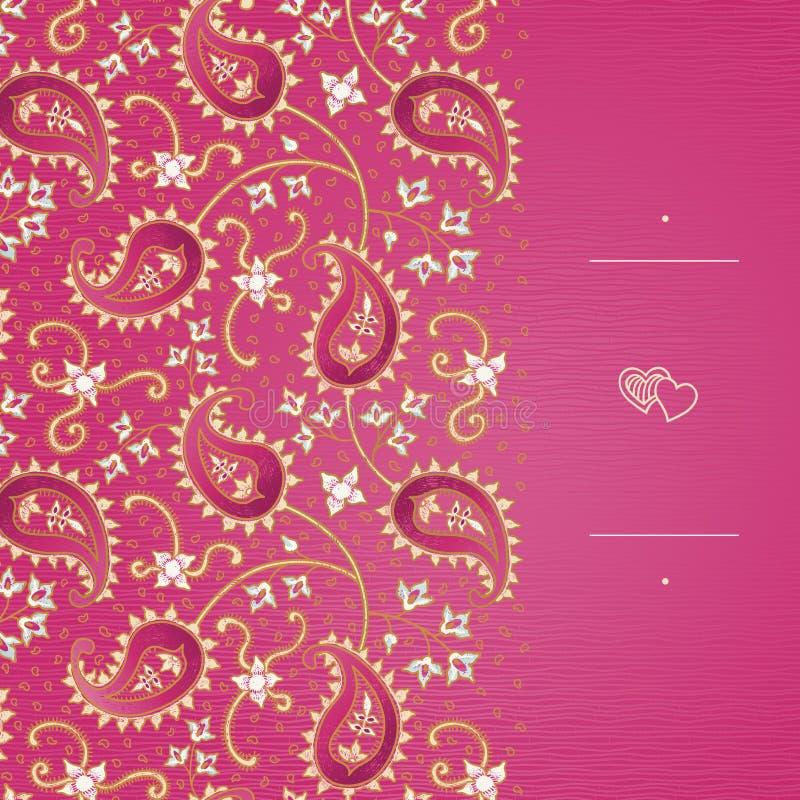 Roczników kartka z pozdrowieniami z zawijasami i kwiecistymi motywami w wschodzie projektują ilustracja wektor