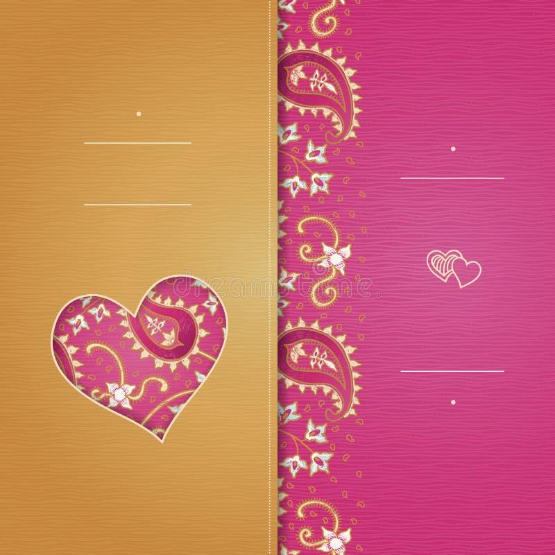 Roczników kartka z pozdrowieniami z zawijasami i kwiecistymi motywami w wschodzie projektują royalty ilustracja
