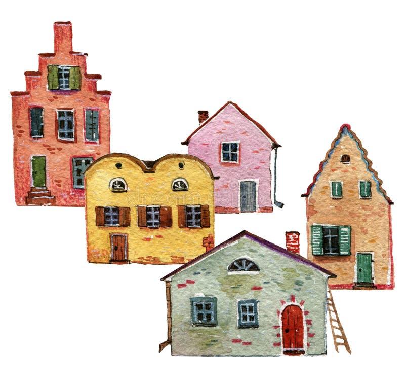 Roczników kolorowi domy jeden jeden ilustracja wektor