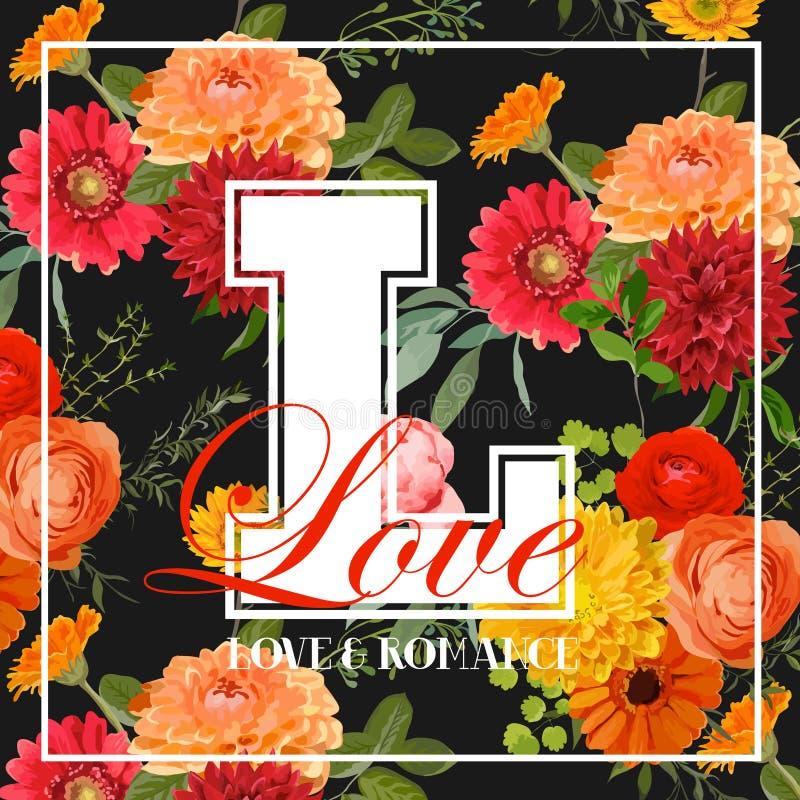 Roczników Kolorowych kwiatów Graficzny projekt royalty ilustracja