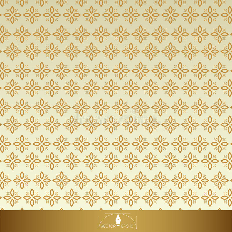 Roczników Kwieciści bezszwowi ozdobni wzory Złoto z beżem ilustracji