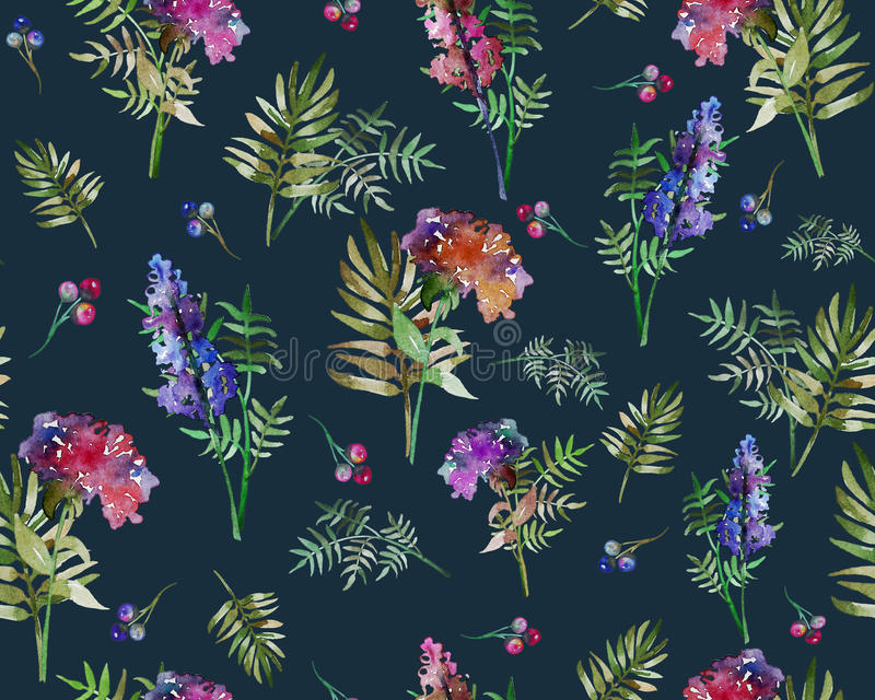 Roczników kwiecistych ziele bezszwowy wzór z lasu liściem i kwiatami Druk dla tekstylny tapetowy niekończący się Pociągany ręczni zdjęcie royalty free