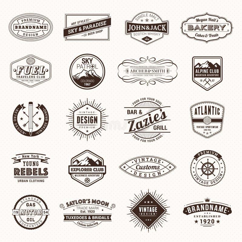 Roczników logo Retro etykietki wektorowe ilustracji