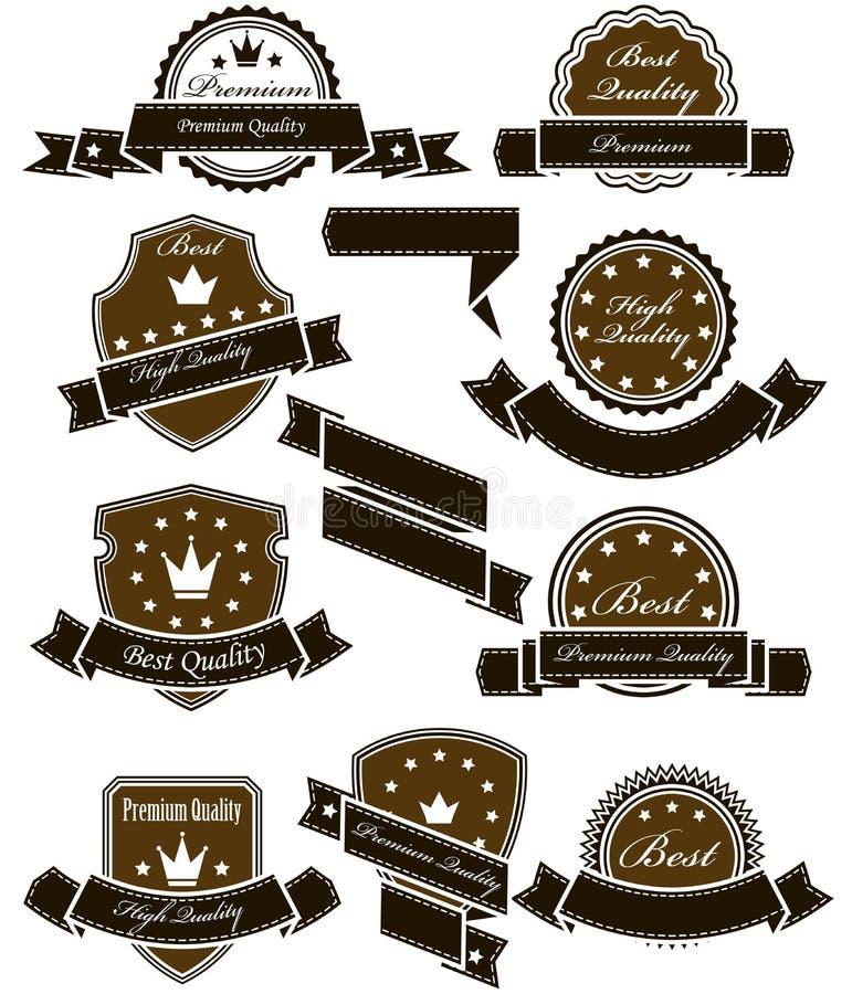 Roczników medale z faborkami i foki ilustracja wektor