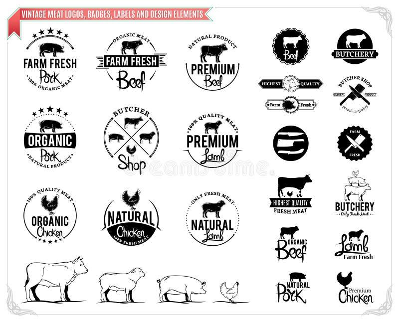 Roczników mięśni logowie, odznaki, etykietki i projektów elementy, ilustracja wektor