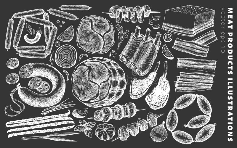 Roczników mięsnych produktów wektorowe ilustracje na kredowej desce Wręcza patroszonego baleron, kiełbasy, jamon, mięsnego stek,  ilustracji