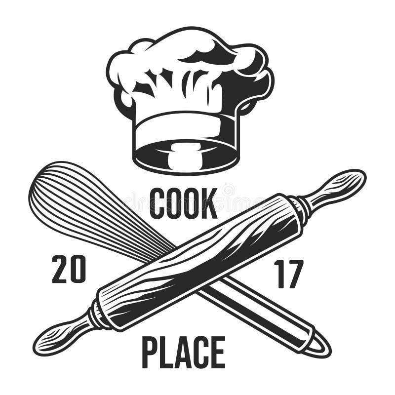 Roczników naczyń kuchenny logotyp royalty ilustracja