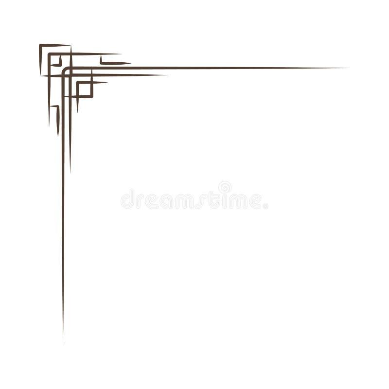 Roczników Narożnikowi elementy Zawijasy, filigree elementy i ozdobne ramy, również zwrócić corel ilustracji wektora cztery elemen royalty ilustracja