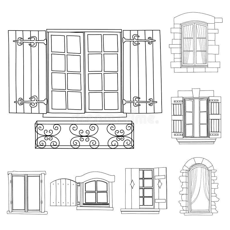 Roczników okno ustawiający z kwiatami w garnku ilustracja wektor